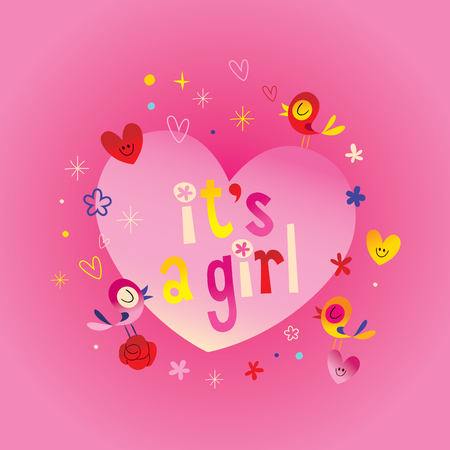 its a girl - card with cute birds and hearts Ilustração