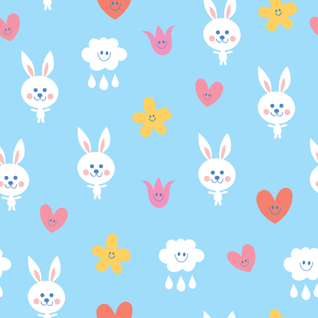baby bunnies flowers clouds hearts sky seamless pattern