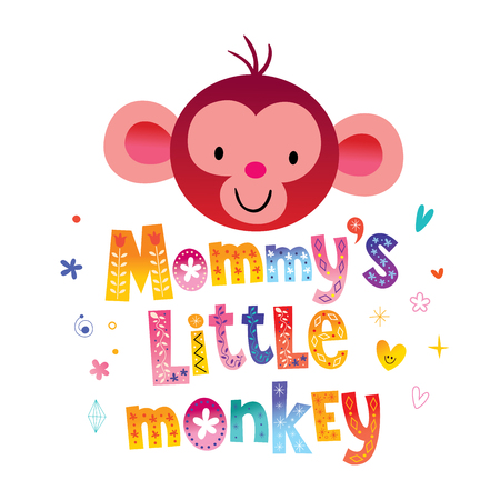 Petit singe de maman Illustration vectorielle. Banque d'images - 94074679