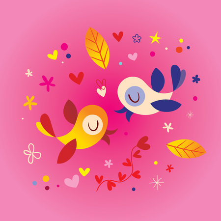 birds in love romantic illustration