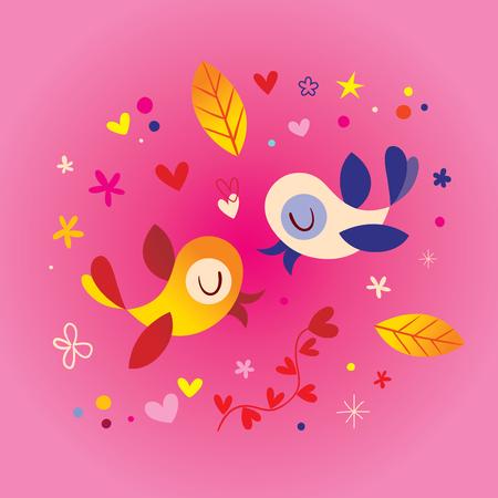 birds in love romantic illustration