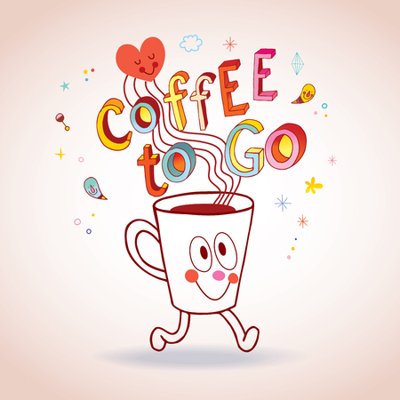 Coffee to go - cartoon coffee cup character illustration