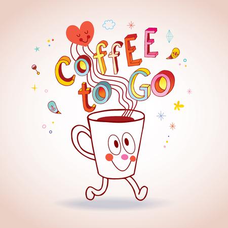 Kaffee zu gehen - Cartoon Kaffeetasse Charakter Illustration Standard-Bild - 94074368