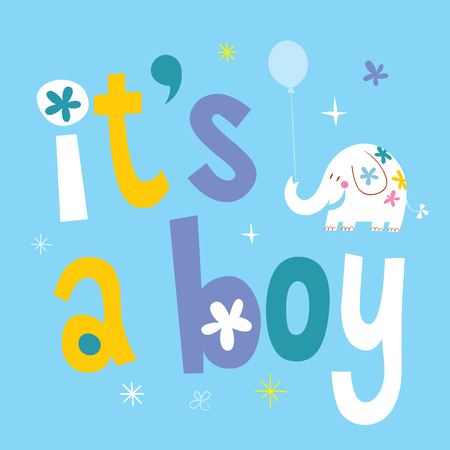 it's a boy - baby shower card with cute elephant Stock Vector - 94074350