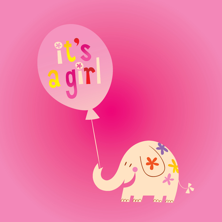 it's a girl - card with cute elephant Vettoriali