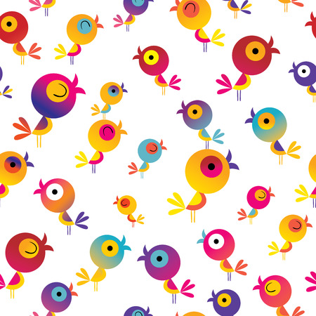 かわいい鳥シームレスなパターン  イラスト・ベクター素材
