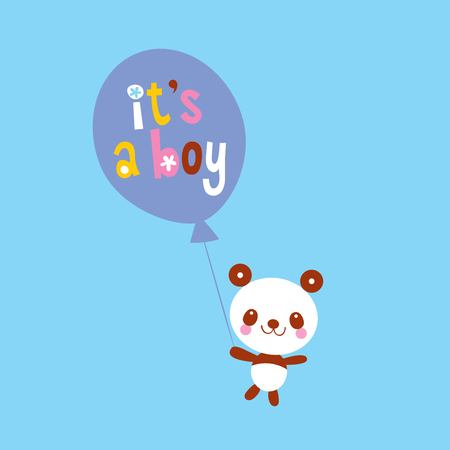 its a boy card with cute panda bear