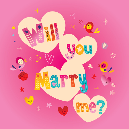Will you Marry me typography lettering text wedding design Illustration