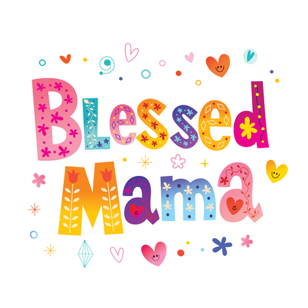 Blessed mama - t shirt design Çizim