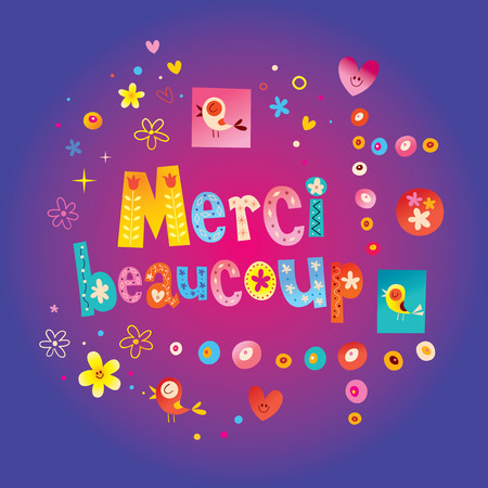 Merci beaucoup - thank you very much in French greeting card