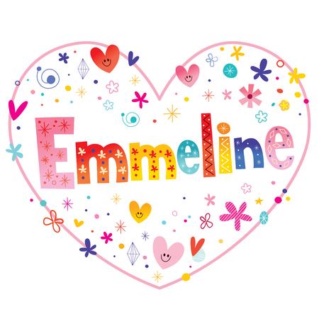 Emmeline girls name decorative lettering heart shaped love design