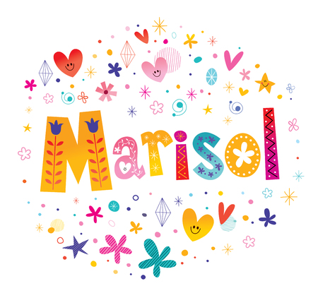 Marisol girls name decorative lettering type design.  イラスト・ベクター素材