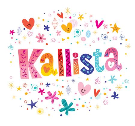Kallista-meisjes noemen decoratief belettering typeontwerp