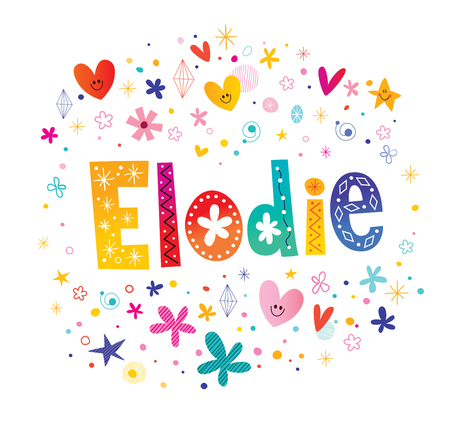 Elodie girls name decorative lettering type design