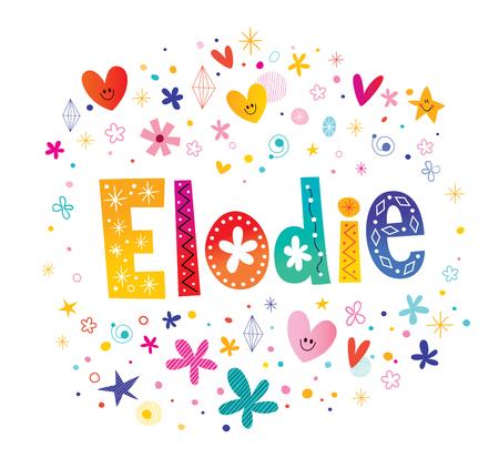 Elodie-meisjes noemen decoratief belettering typeontwerp