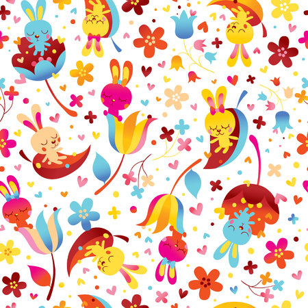 Bunnies and flowers pattern Illustration