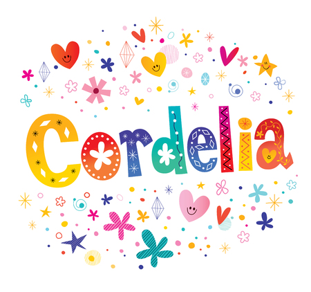 Cordelia girls name decorative lettering type design  イラスト・ベクター素材