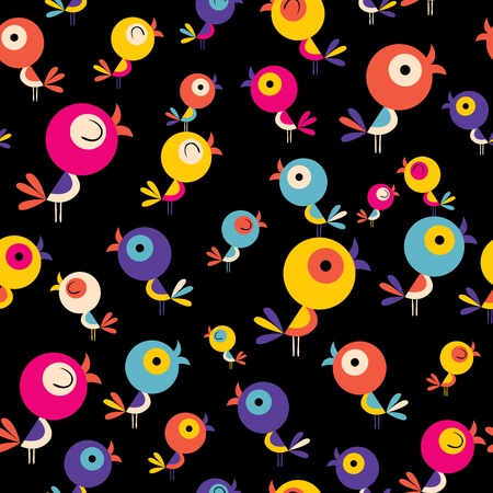 黒の背景イラストにかわいい鳥のシームレスなパターン。  イラスト・ベクター素材