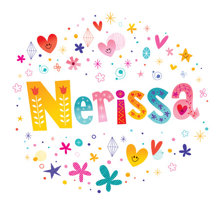 Nerissa girls name decorative lettering type design  イラスト・ベクター素材