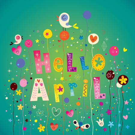 Hello April illustration Ilustrace