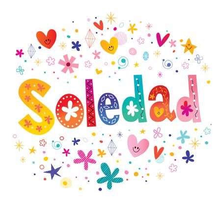 Soledad girls name decorative lettering type design