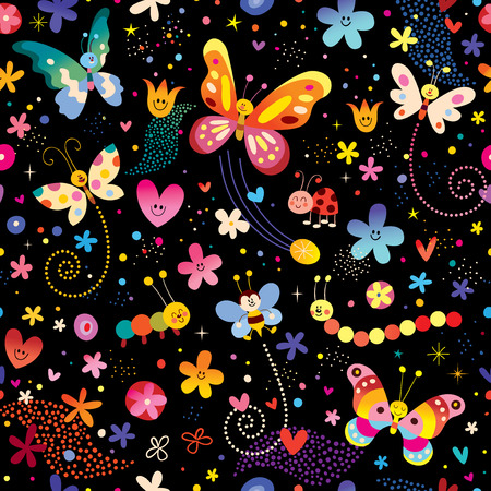 butterflies flowers nature seamless pattern