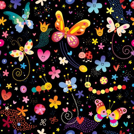 butterflies flowers nature seamless pattern