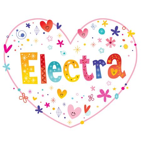 エレクトラの女の子の名前装飾的な文字ハート形の愛のデザイン  イラスト・ベクター素材