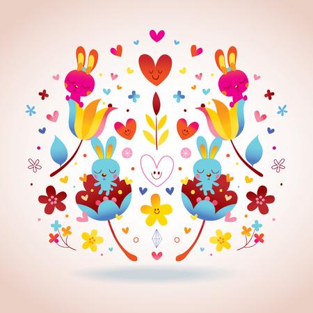 Flores, coelhos, ilustração de amor de corações Foto de archivo - 94183009