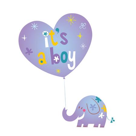 Het is een jongen - baby shower kaart met schattige olifant
