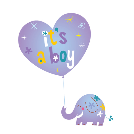 It's a boy - baby shower card with cute elephant Illustration