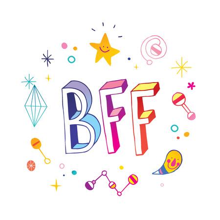 BFFベストフレンズ永遠のイラスト。