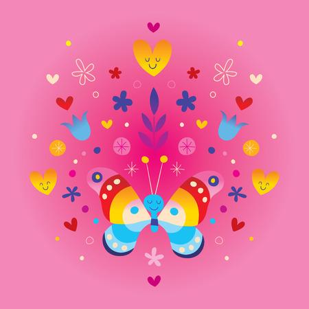 かわいい蝶の心と花  イラスト・ベクター素材