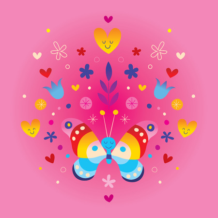 Cute butterfly hearts and flowers Ilustração