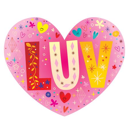 LUV 유형 타이포그래피 글자 텍스트 심장 모양의 벡터 디자인