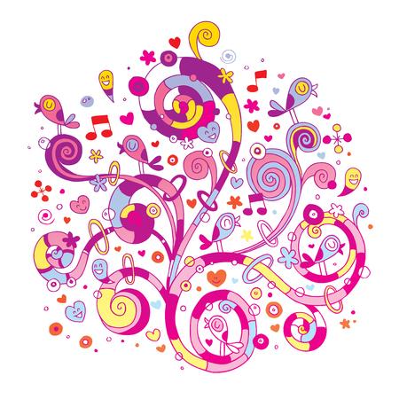 渦巻く花の心と鳥  イラスト・ベクター素材