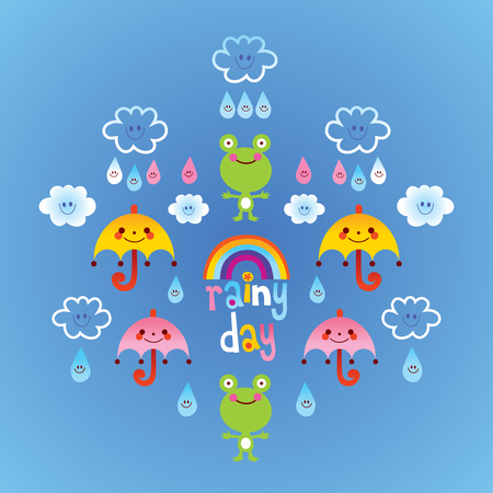 Rainy day frogs clouds umbrellas raindrops