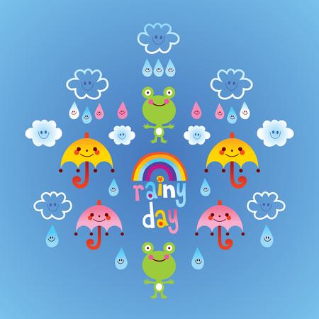 Regenachtige dag kikkers wolken paraplu regendruppels Stock Illustratie