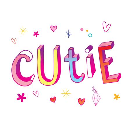 cutie calligraphy illustration. 向量圖像