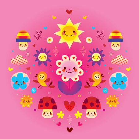 Cute cartoon mushrooms flowers hearts