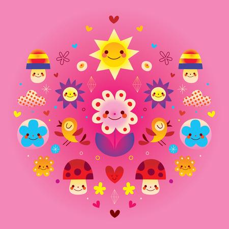 Cute cartoon mushrooms flowers hearts