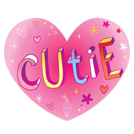 큐티 하트 모양의 사랑 디자인 핸드 레터링
