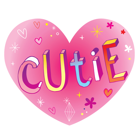 Cutie heart shaped love design with hand lettering