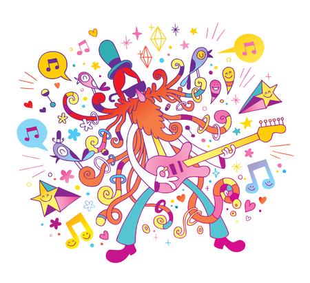 Rock gitarist illustratie