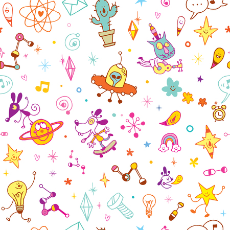 Fun cartoon characters seamless pattern illustration. Ilustracja