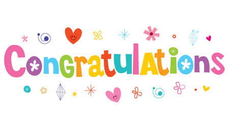 Congratulations lettering decorative text with heart and star illustration.