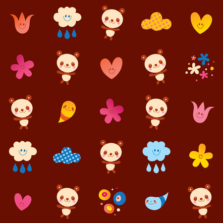 Baby panda bears flowers clouds illustration on brown background.