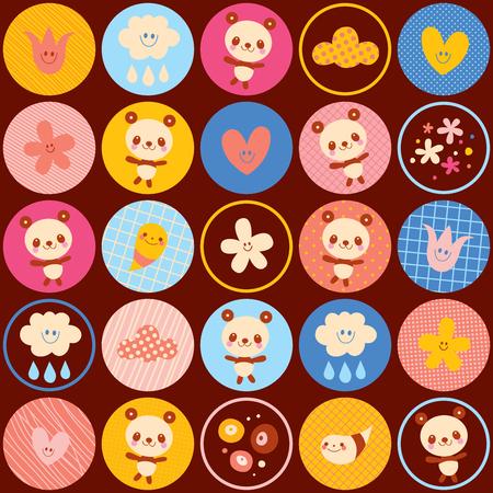 Kreise Muster Baby Panda Bär Blumen Illustration Standard-Bild - 94285454
