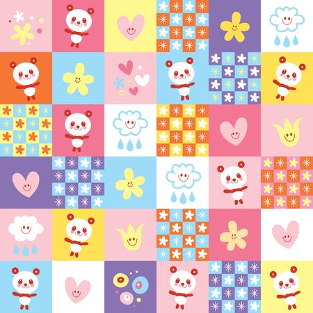 Cute panda bears and flowers pattern Illustration