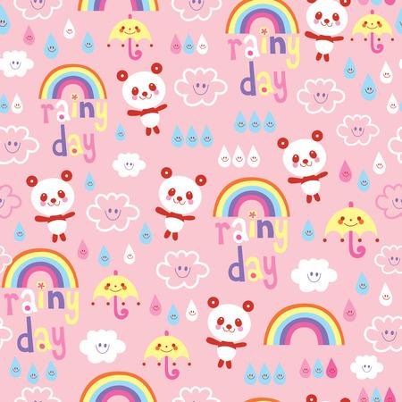 Regenachtige dag elementen en panda bear patroon